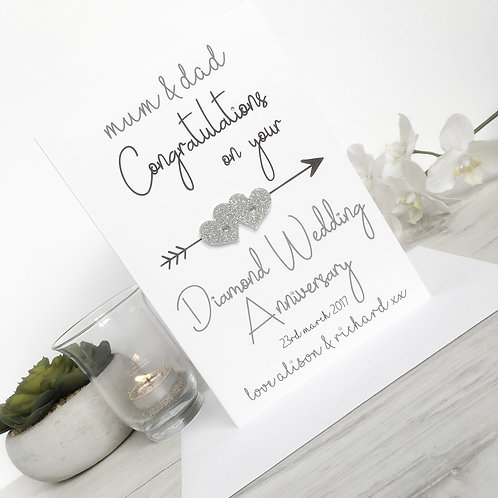 Diamond Wedding Anniversary - Personalised Card