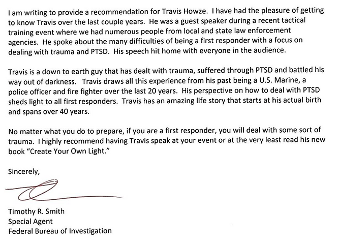 Travis Howze recommendation from the Federal Bureau of Investigation