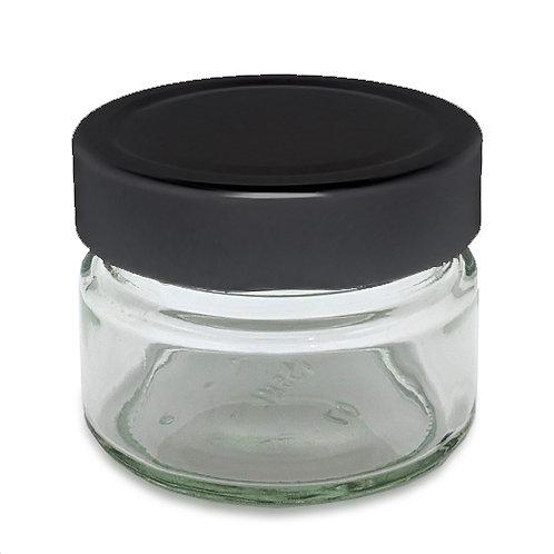 150ml Ergo Glass Jar 70mm W/Black Metal Cap   SKU:BSJ-028B