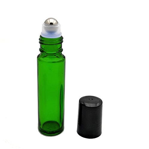 10ml Green Glass Roll-on with Metal Ball & Black Cap   SKU:BSB-111