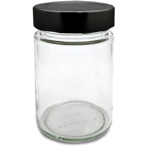 630ml Ergo Glass Jar W/Black Metal Cap   SKU:BSJ-046B