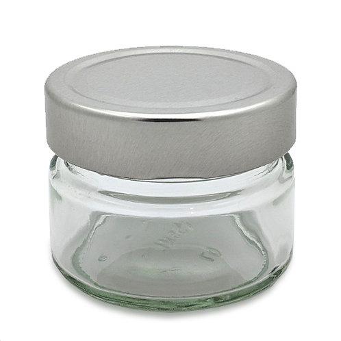 150ml Ergo Glass Jar 70MM W/Silver Cap   SKU:BSJ-028