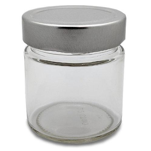 212ml Ergo Glass Jar 70MM W/Silver Metal Cap   SKU:BSJ-029