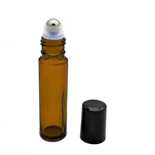10ml Amber Glass Roll-on with Metal Ball & Black Cap    SKU:BSB-096