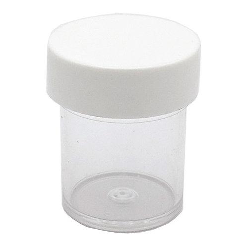 1/2oz Clear Styrene Jar 33/400 W/White Cap   SKU:BSJ-021