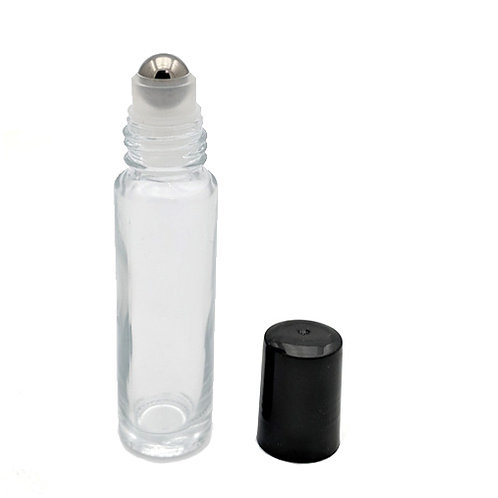 10ml Clear Glass Roll-on with Metal Ball & Black Cap   SKU:BSB-095