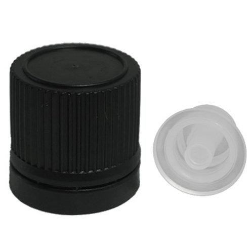 18MM Black Tamper Evident Cap W/Dropper Insert   SKU:BSC-007