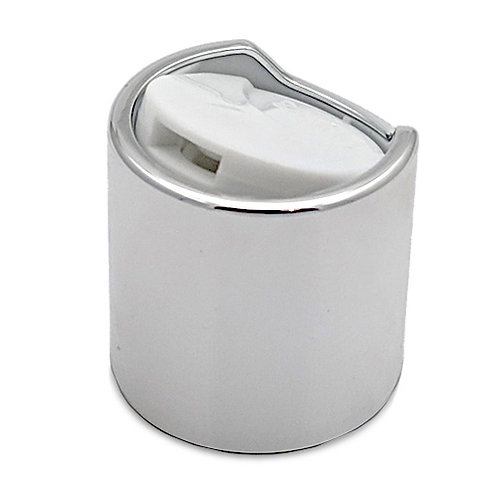 24/410 Silver Metal Cap Disc-Top W/White Top   SKU:BSC-076