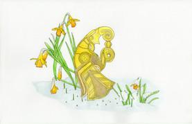 Broa cheek piece and daffodils