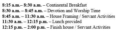 Schedule of events for House Build 2018.