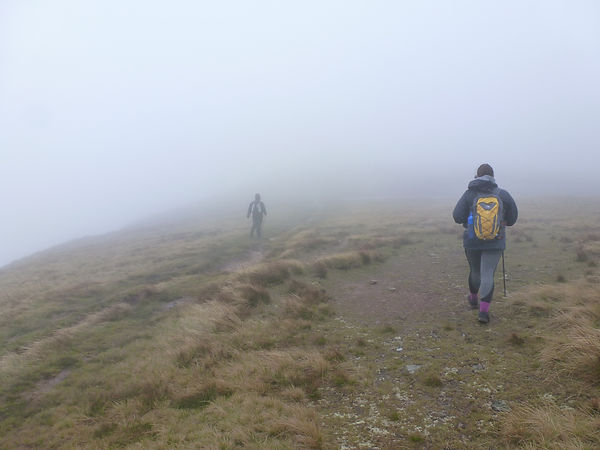 Walking in the Brecon Beacons in poor visibility.