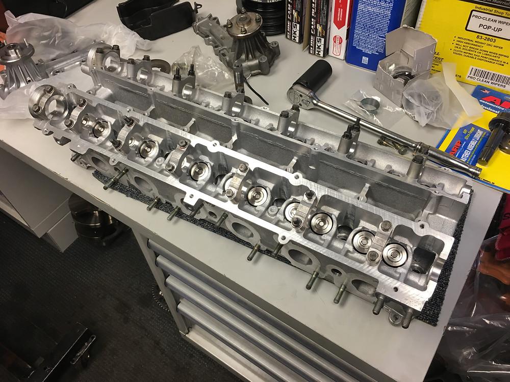 rb26dett, rb26, cylinder head, supertech, dual valve springs, +1mm valves, headz by drew
