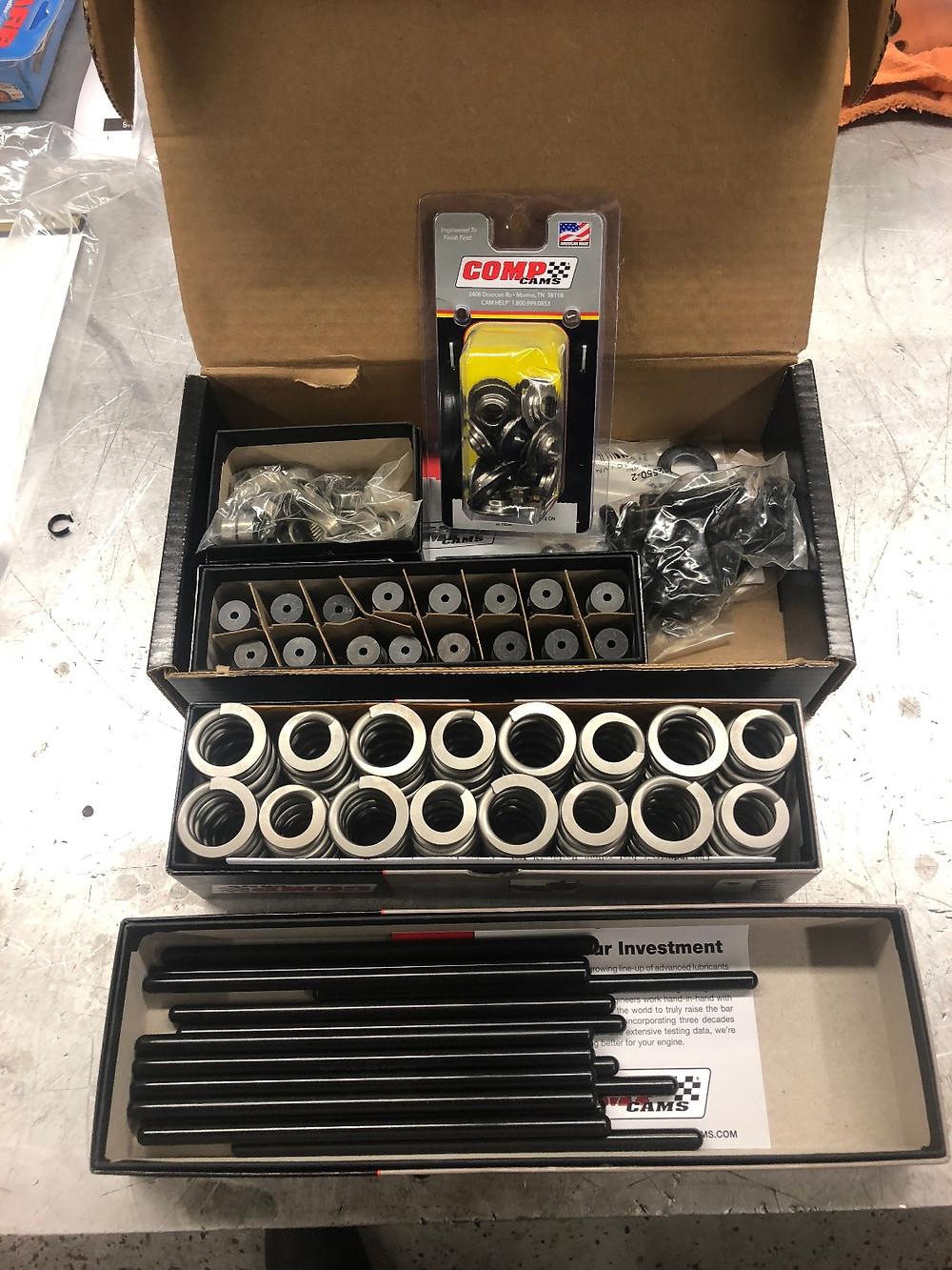 Comp Cams, valve springs, trunion kit, push rods