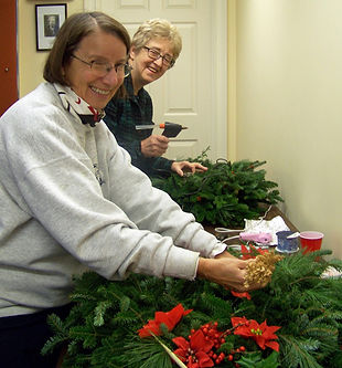 2 women Assembling Wreaths 2019 PatPix (