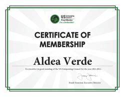 Aldea Verde - Membership Certificate 2021-22