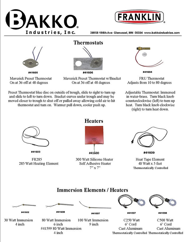 Franklin Heaters Thermostats Instruction