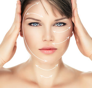 Laser therapy on pretty woman face over