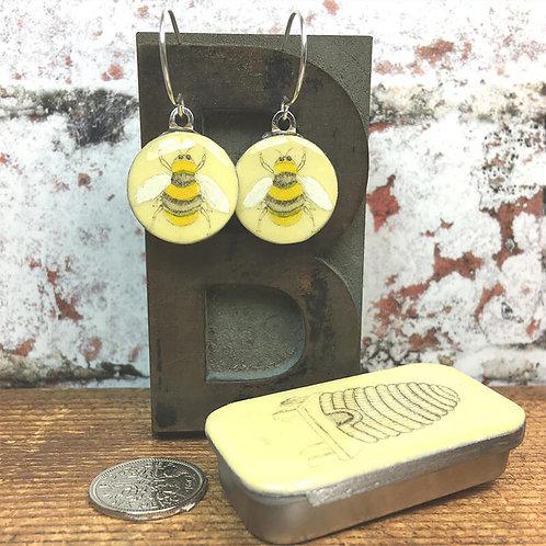 Bee Sixpence Earrings with Beehive Tiny Tin
