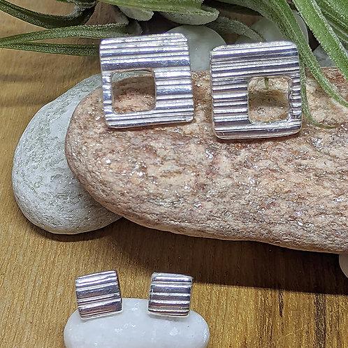 Silver Stripe Square Stud Earrings