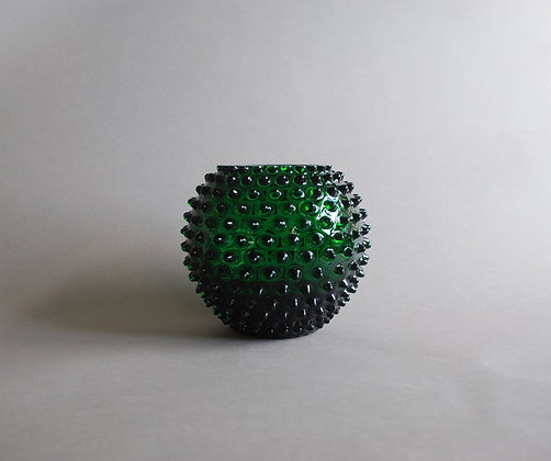 Crystal hobnail vase - green