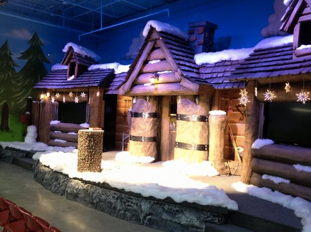 Winter cabin stage set