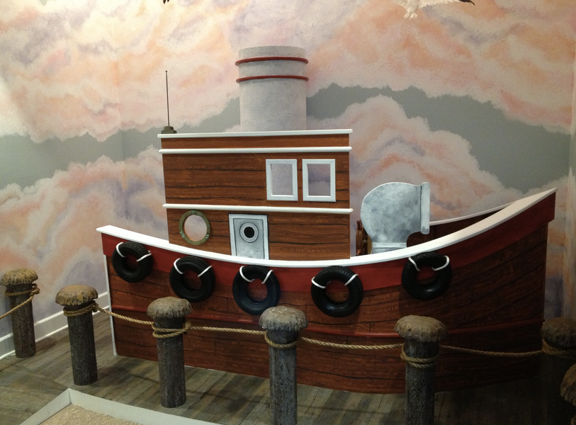 Tugboat prop in office lobby