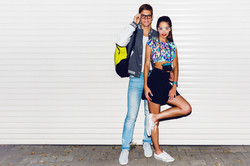 Stylish young couple glasses