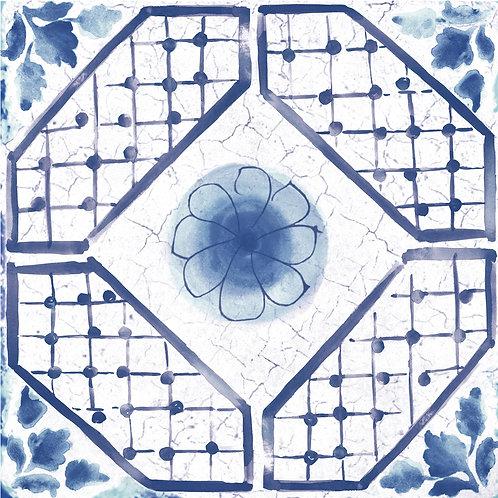 Керамогранит Maiolica Blue pattern #3 60 × 60 см