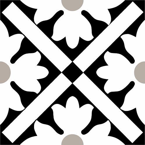 Керамическая плитка Colibri Nero Dec.B6 12,5 × 12,5 см