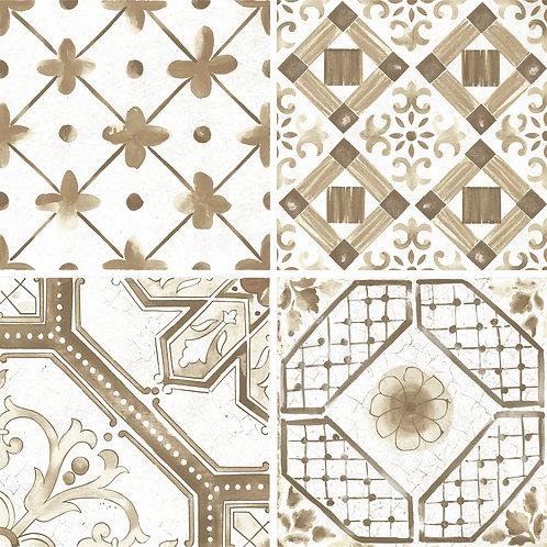 Керамогранит Maiolica Brown mix (4 patterns) 60 × 60 см