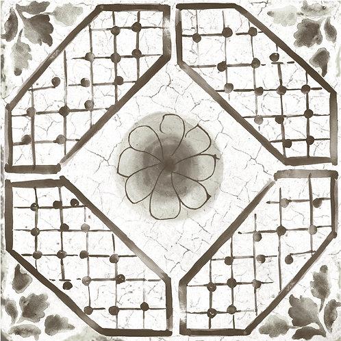 Керамогранит Maiolica Black pattern #3 60 × 60 см