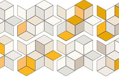 Керамогранит Tex mix Runner (white+yellow&cream) 70 × 162 см