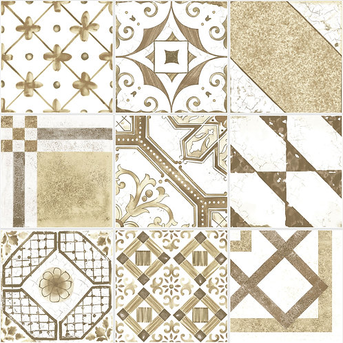 Керамогранит Maiolica Brown mix (9 patterns) 20 × 20 см