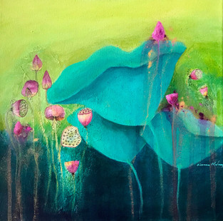 Enchanted Summer Blooms 3 Mixed Media Sold