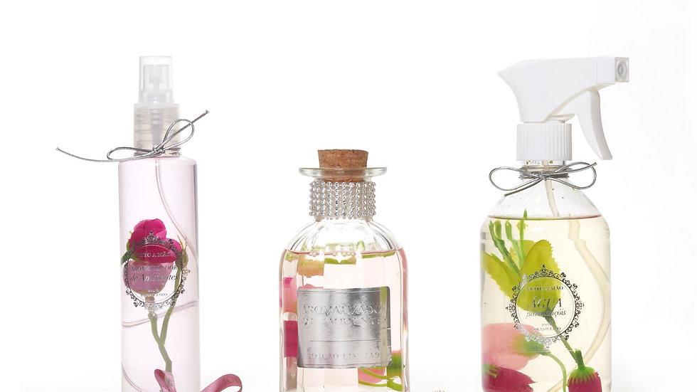 kit 3 Lavanda: home spray (200 ml), difusor (250 ml) e água perfumada (500 ml)