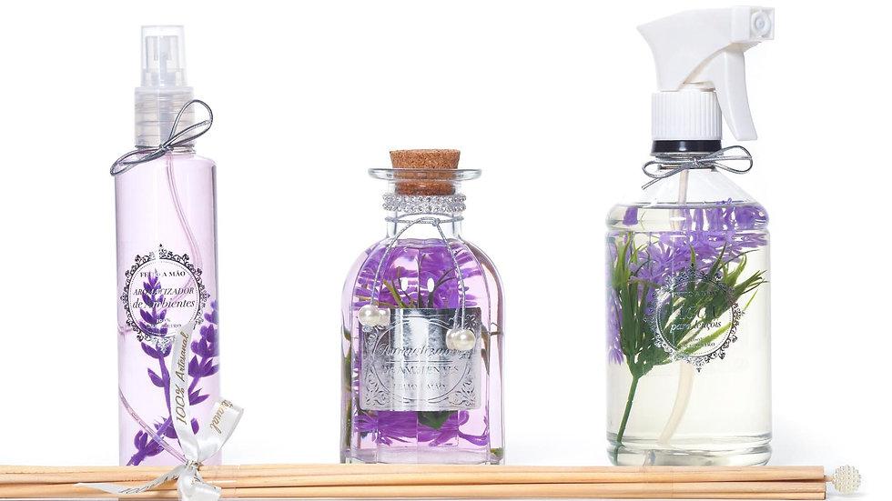 kit 3 Provence:  home spray (200 ml), difusor (250 ml) e água perfumada (500 ml)