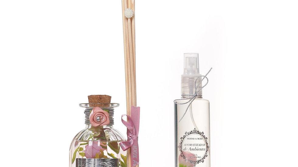 :Kit 2 Rosa Damascena:  Difusor de Aromas com varetas   e Home Spray
