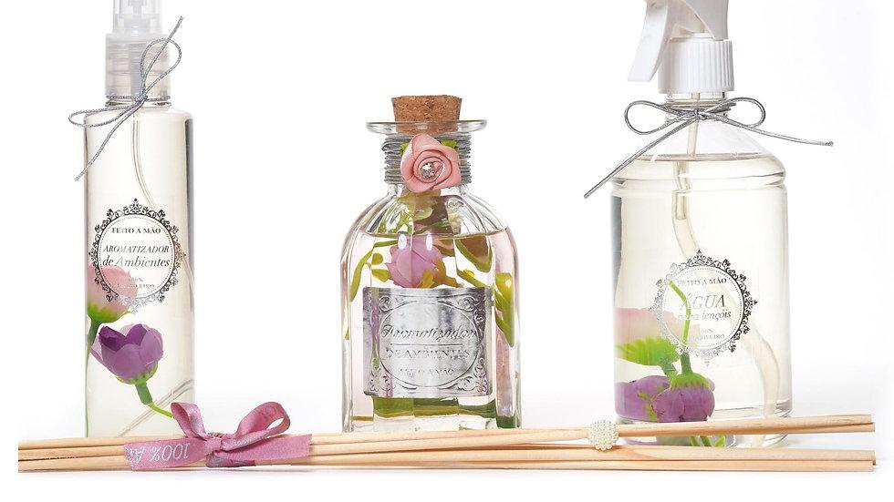 Kit3 Rosa Damascena home spray (200 ml) Difusor (250 ml) Água perfumada (500 ml)