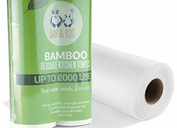 2x Bamboo Kitchen Towel Roll Washable Reusable