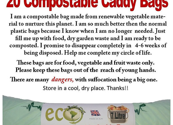 100 Biodegradable Kitchen Waste Bags 7L