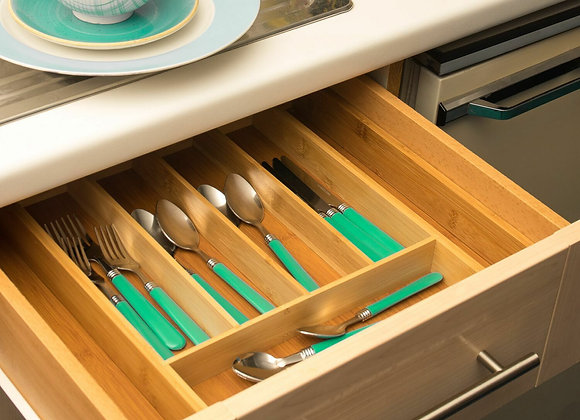 Bamboo Adjustable Cutlery Tray Kitchen Draw Insert
