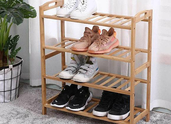 Bamboo Shoe Footwear Organiser Rack Storage Shelves 4 Tier