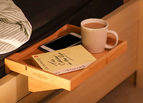 Bamboo Ergonomic Clip-On Bedside Shelf