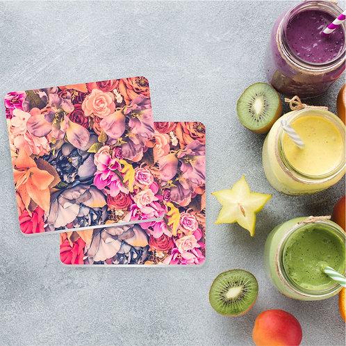 Floral Rosa | Kit com 8 Porta Copos em Acrílico