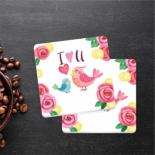 I Love You Pássaros | Kit com 6 Porta Copos em Acrílico