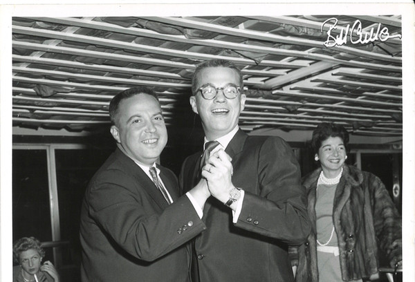 Bill and Allan Sherman. The woman on the right in the background is Mrs. Sherman.