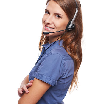 Support phone operator in headset smilin