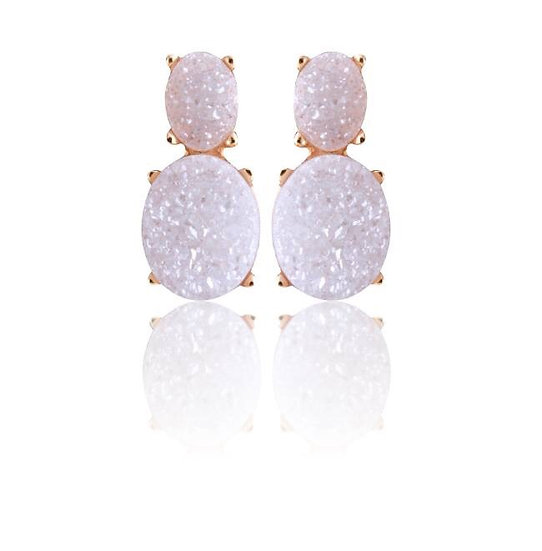 Small White Druzy and Gold