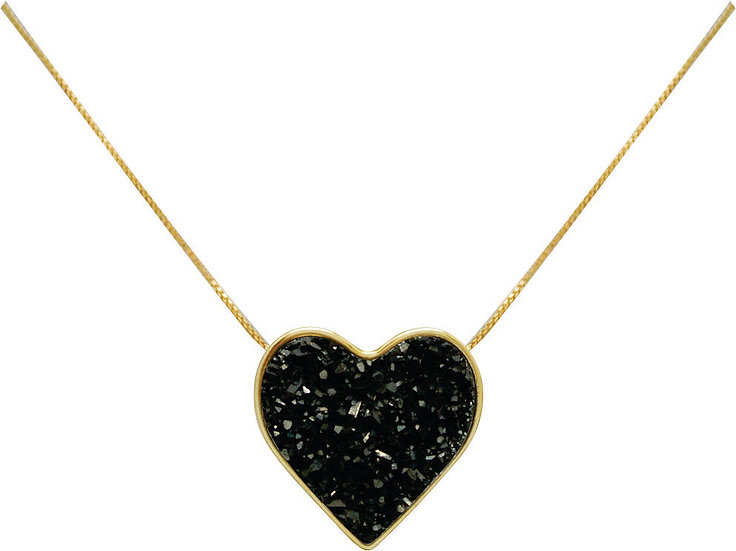 Black Druzy Heart