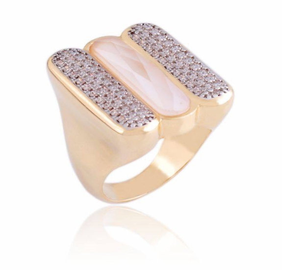Milky Quartz, Crystal and Gold Ring